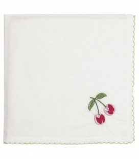 Stofserviet Cherry red w/embroidery - Napkin 40x40cm