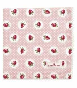 Stofserviet Strawberry pale pink - Napkin with lace