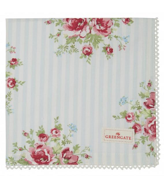 Stofserviet - Nellie Pale Blue - Napkin with lace