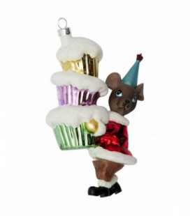 Julekugle - Mouse red w/cakes - Ornament glass