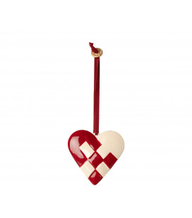Flettet hjerte juleophæng - Metal ornament, Braided heart - Red