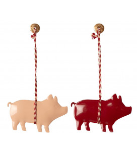 Metal ornament, Pig 2 ass.